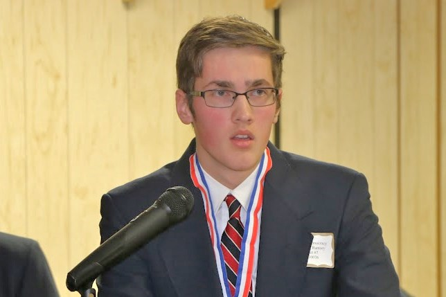 State winner of this year's Voice of Democracy Contest giving his winning essay.
