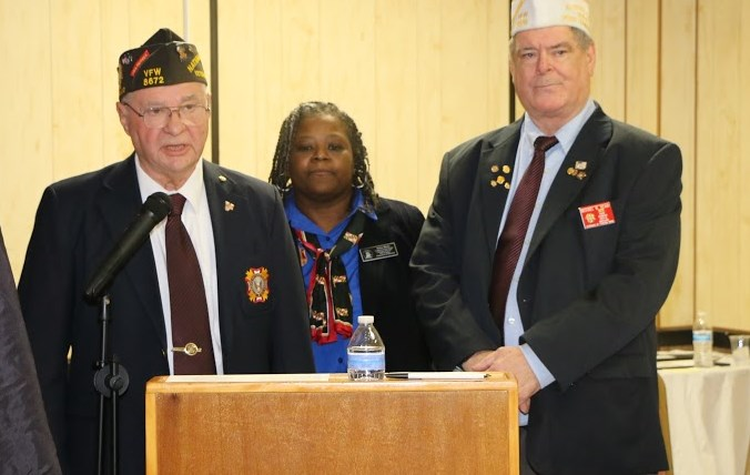 State VFW Voice of Democracy Chairman Mike Perini, State Auxiliary Scholarship Chairman Felicia Weeks, and State Patriot's Pen Chairman Mike Reamy.